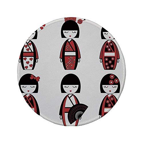 Rutschfreies Gummi-rundes Mauspad Mädchen einzigartige asiatische Geisha-Puppen in folkloristischen Kostümen Outfits Haarstäbchen Kimono Art Image Schwarz Rot 7.9