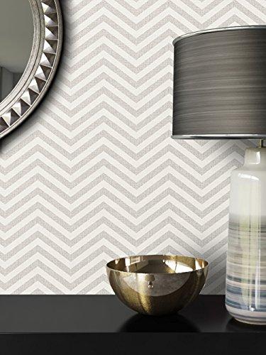 NEWROOM carta da parati grigio geometrico zig zag grafico tessuto non tessuto crema moderna Bauhaus
