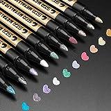 ANYUKE Metallic Marker Pens, 10 Farben Metallic Stifte für Gästebuch Hochzeit/Geburtstag,...