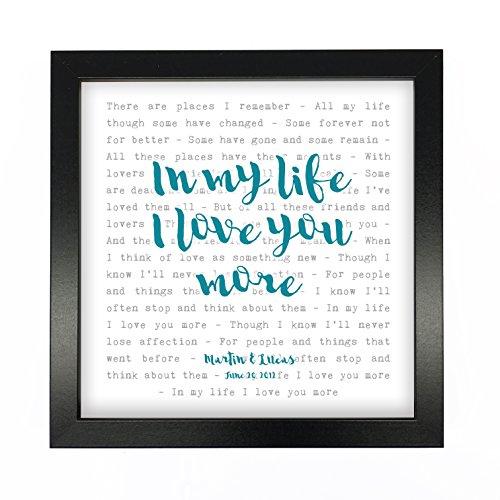 NOT JUST A PRINT The Beatles, In My Life–Typografie Songtext, gerahmt, personalisierbar–Jahrestag Valentinstag Hochzeit Geschenk perfekt für sie, ihn, Paar