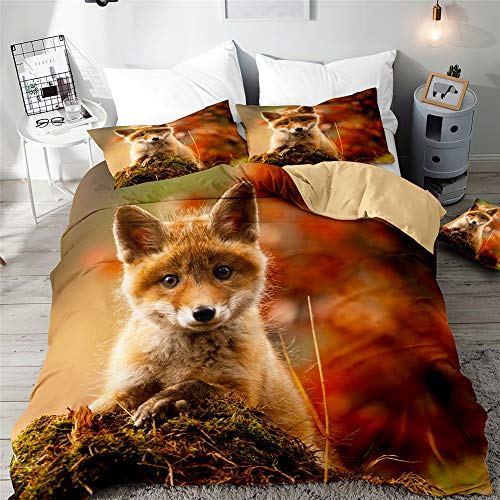 Morbuy 3D Duvet Cover Set for Single Double King Size Bed, Animal Printed Bedding Sets Boys Girls Bedroom Microfiber Duvet Set Quilt Case with Pillowcases (Baby fox,135x200cm)