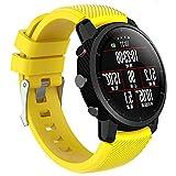 Silicona Pulsera Compatible Con Amazfit Stratos 22mm Banda Para Smartwatch Reloj de Correa (Amarillo)