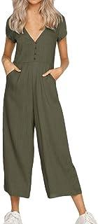 089b77f60 PAOLIAN Pantalones Monos Largos de Mujer Verano 2018 Casual Ropa de Mujer  Cuello V Pantalones de