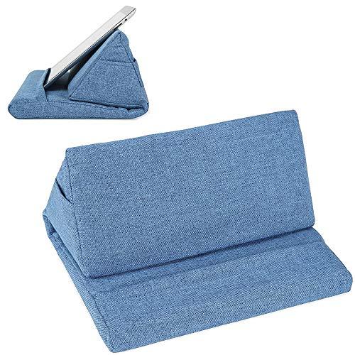 Soporte de algodón para tableta, Multi-ángulo Suave y Portátil de Lectura Holder Usado en Cama Escritorio Coche, WOSNN Soporte de tableta de Almohada Suave de Múltiples ángulos (azul claro#1)