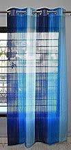 Fresh From Loom Tissue Net Eyelets Rings Transparent Sheer 5 ft Polyester Curtain (Blue)