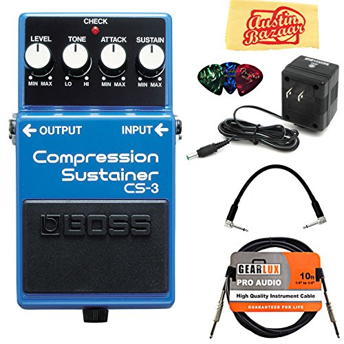Boss CS-3 Compressor/Sustainer Bundle with Power Supply, Instrument Cable, Patch Cable, Picks,...