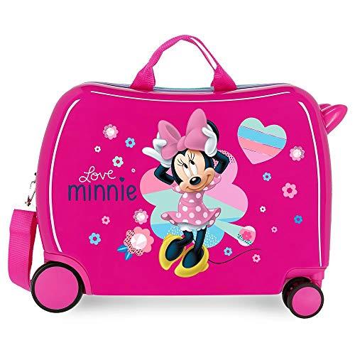 Disney Love Minnie Valise Trolley Cabine Rose 37x55x20 cms Rigide ABS Serrure à combinaison 34L 2,6Kgs 4 roues doubles Bagage à main