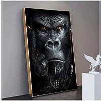 黒のビッグゴリラモンキーポスターとプリント北欧の家の装飾動物のキャンバスアート絵画リビングルームの壁画壁画50x70cm(20x28in)