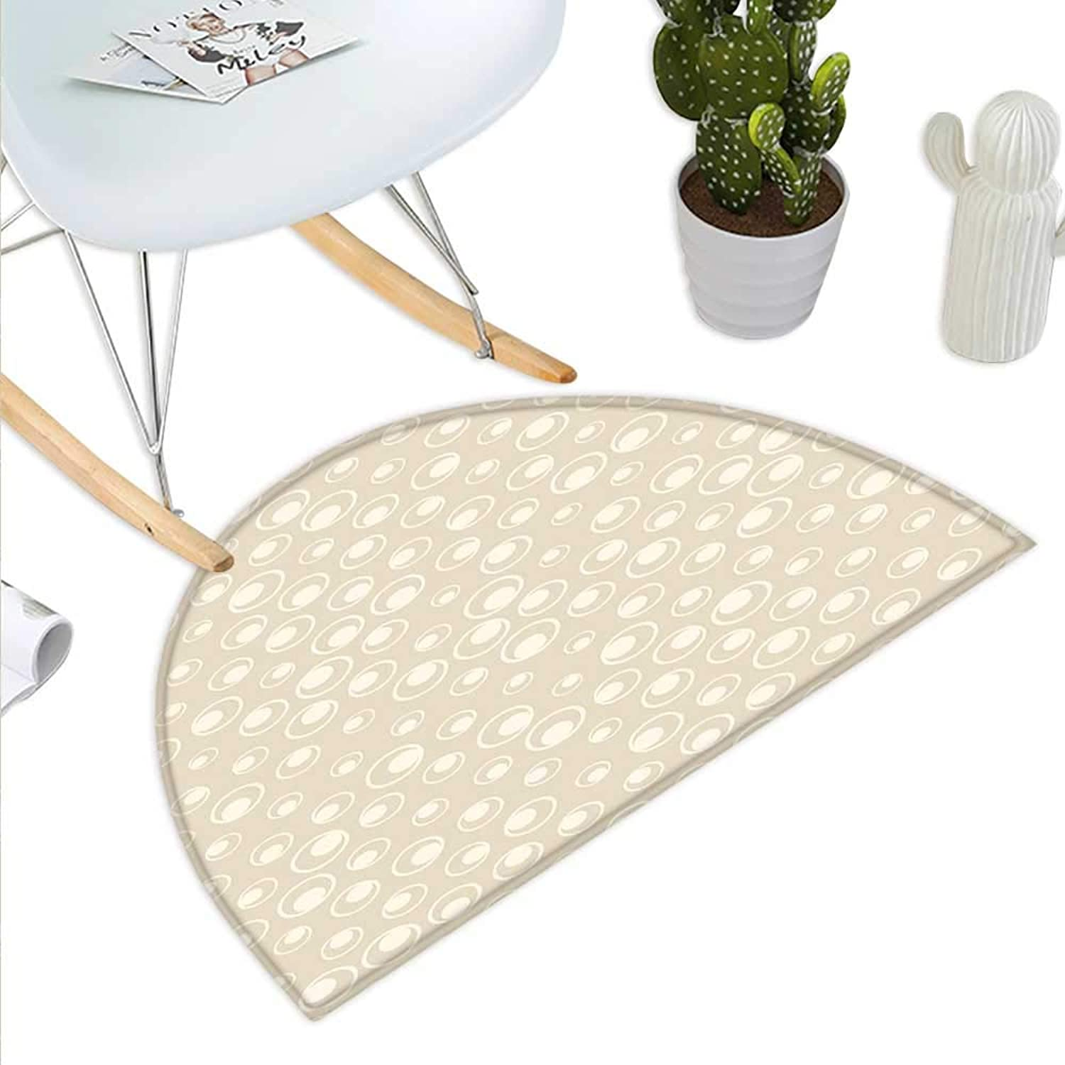 Tan Semicircle Doormat Spotted Dotted Display Bubble Forms Water Inspired Abstraction Circular Composition Halfmoon doormats H 47.2  xD 70.8  Tan Eggshell