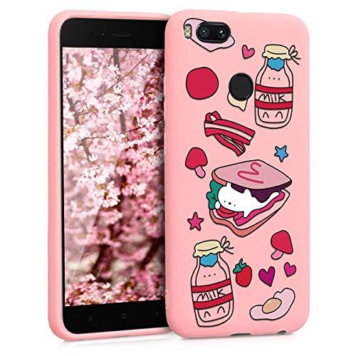 ZhuoFan Funda Xiaomi Mi A1, Cárcasa Silicona Rosa con Dibujos Diseño Suave Gel TPU Antigolpes de Protector Piel Case Cover Bumper Fundas para Movil Xiaomi MiA1, Desayuno