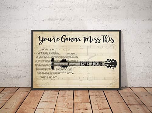 Kapparo Decor Gift - You're Gonna Miss This Song Lyrics Landscape Poster Guitar Wall Art Print (17' x 11')