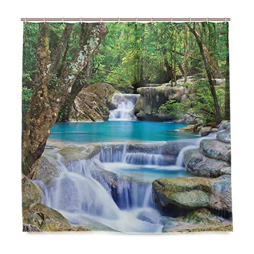 BEITUOLA Duschvorhang,Wasserfall-Feen-Bild des asiatischen durch die Felsen im Wald-geheimen Paradies-dekorative grüne Blu,Wasserdicht Polyester Textil Stoff Badewannevorhang Shower Curtain