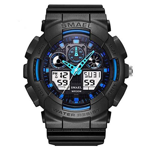 Reloj de los hombres reloj de pulsera digital resistente al agua LED reloj de cuarzo reloj del deporte del temporizador de cuenta regresiva de alarma for los hombres, resistente a los golpes analógica