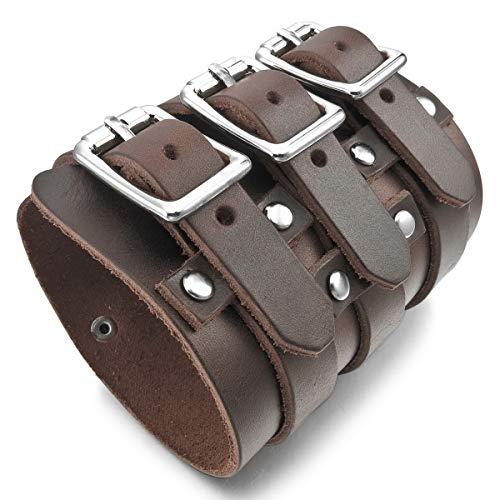 MunkiMix Metalllegierung Legierung Echtleder Armband Armreifen Manschette Silber Ton Braun Schwarz Einstellbar Verstellbaren Herren