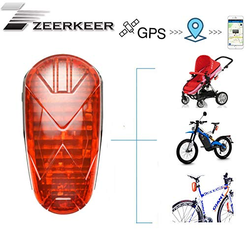 Long Standby Lasts for 25 Days GPS GSM GPRS Locator with LED Tail Light Lifetime Free Platform Hidden Real-time Tracking Device for Bicycle ZEERKEER GPS Tracker for Bicycle Trolly