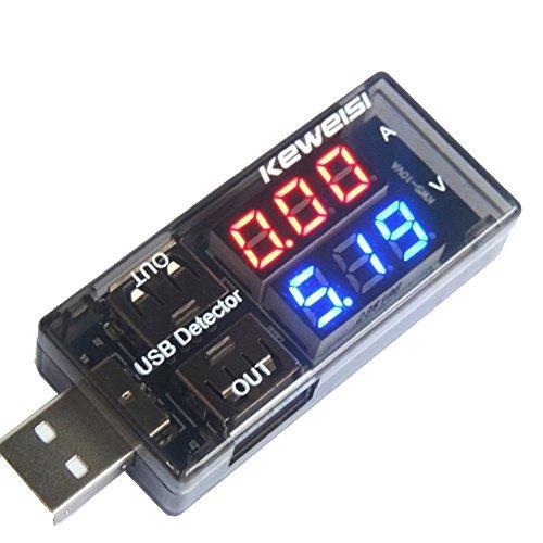 Laqiya - Tester per caricabatterie USB, rilevatore di corrente e di tensione, voltometro batteria, con dislay a LED