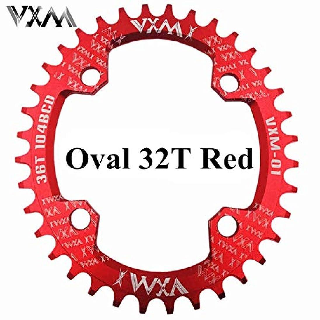 そよ風クリップ蝶課税Propenary - 自転車104BCDクランクオーバルラウンド30T 32T 34T 36T 38T 40T 42T 44T 46T 48T 50T 52TチェーンホイールXT狭い広い自転車チェーンリング[オーバル32Tレッド]