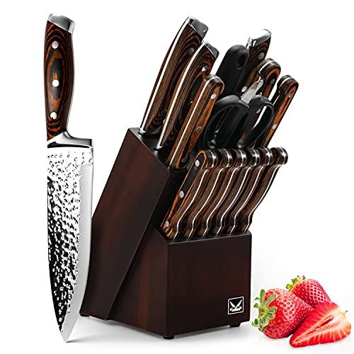 Knife Set, HOBO 15-Piece Kitchen Knife Set With Block Wooden, Self Sharpening For Chef Knife Set, Japan Stainless Steel Knife Set, Steak knife set block, Boxed Knife Sets