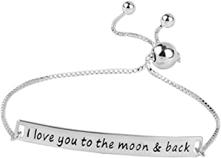 Sterling Silver Jewelry Love You To The Moon and Back Sliding Bolo Bracelet for Women
