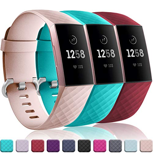 Wepro Bands Replacement Compatible Fitbit Charge 3 Women Men Small, 3 Pack Sports Watch Band Strap Waterproof Wristband Fitbit Charge 3 SE Fitness Tracker, Teal, Pink Sand, Wine Red