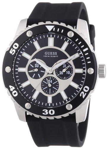 Guess W10616G1 - Reloj cronógrafo de Cuarzo para Hombre con Correa de Silicona, Color Negro