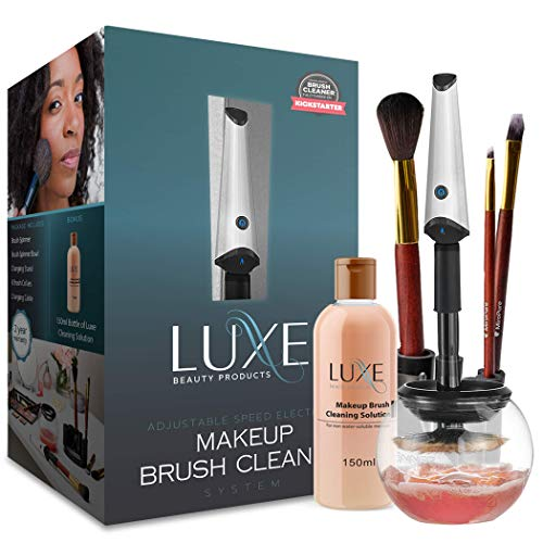 Luxe Makeup Brush Cleaner - 5oz Makeup Cleaning Solution Included |USB Charging Station| 3...