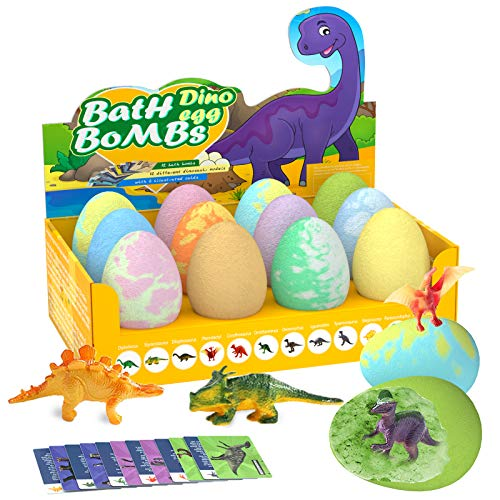 Bath Bombs for Kids, Easter Egg - Set of 12 Colorful Egg Bath Fizzies with Dinosaur Surprise, Perfect for Bubble & Spa Bath. Kids Safe Spa Bath Fizz Balls Kit, Birthday Girls and Boys