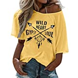 YAnGSale Top Women T-Shirt Lady's Half Sleeve Blouse Letter Printed Tunics Loose Sweats O Neck Tops Summer Tee (Yellow, XXXL)