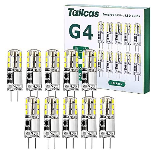 G4 LED Bulbo 1.5W AC/DC 12V, Capsule LED Equivalente a 20W Bombillas Halógenas, Blanco Frio 6000K 180LM No Regulable, Ángulo de haz de 360°, Paquete de 10