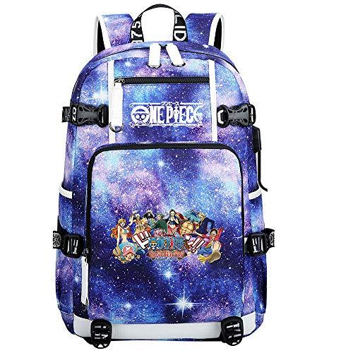 ZZGOO-LL One Piece Monkey·D·Luffy/Roronoa Zoro Anime Laptop Backpack Bag Travel Laptop Daypacks Bolso Ligero con USB-D