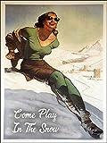 Vintage Pin Up Skiing Snow Resort Ad Reproduction Steel Sign Biker Decor Aluminum Metal Signs Tin Pl...