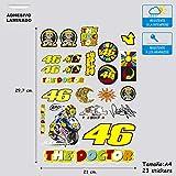 Pegatina Adhesivo con Protector Laminado Impreso Compatible con Valentino Rossi Hoja A 4 (27 cm x 21 cm) 23 Stickers Ref.5