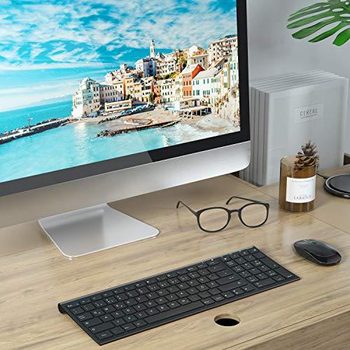 Jelly Comb Tastatur und Maus kabellos, 2.4Ghz Wireless Tastatur Maus Set, Ultra Dünn QWERTZ Funktastatur für PC, Desktop, Notebook, Laptop, Windows XP/7/8/10(Schwarz)