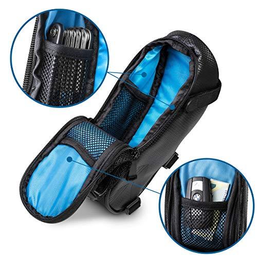 Satteltaschen für Fahrrad inkl. Reifen Reparaturset und Rücklicht- & Flaschenhalter - Geräumige Fahrradtasche mit Werkzeug für den Sattel aus wasserabweisendem Material - 2