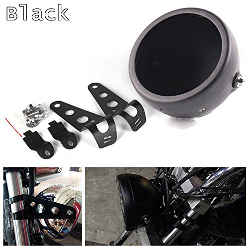 HOZAN Black 5.75inch Motorcycle LED Headlight Housing 5-3/4 LED Headlight Mount for Harley Honda Suzuki Kawasaki Vulcan Cruiser Bike Cafe racers