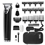 WAHL Stainless Steel Lithium Ion 2.0+ Black Beard Trimmer for Men - Electric Shaver, Nose Ear Trimmer, Rechargeable All in One Men's Grooming Kit - Model 9864K