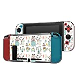 Dockable Case Compatible with Nintendo Switch Console and Joy-Con Controller, Patterned ( Wreath,feather,owl,tent,wild,girl and arrow in boho style ) Protective Case Cover with Tempered Glass Screen