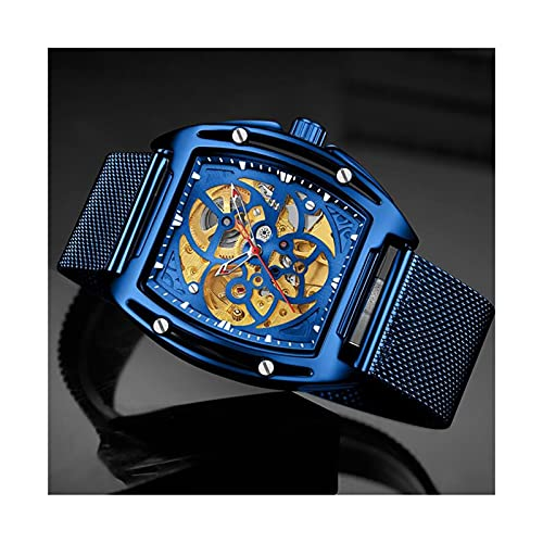 EPHNDX Reloj mecánico automático para Hombres Ocio Multifuncional Reloj a Prueba de Agua Moda de Acero Inoxidable Skeleton Reloj de Esqueleto Automático Sinuoso Ocio Luxury Business Classic Regional