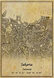 Indonesien Jakarta Landkarte Poster Leinwand Druck Vintage