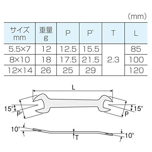 『ホーザン(HOZAN) 板スパナセット 薄型スパナ 5.5×7mm、8×10mm、12×14mmの3本組 板厚2.3mm W-76』の3枚目の画像