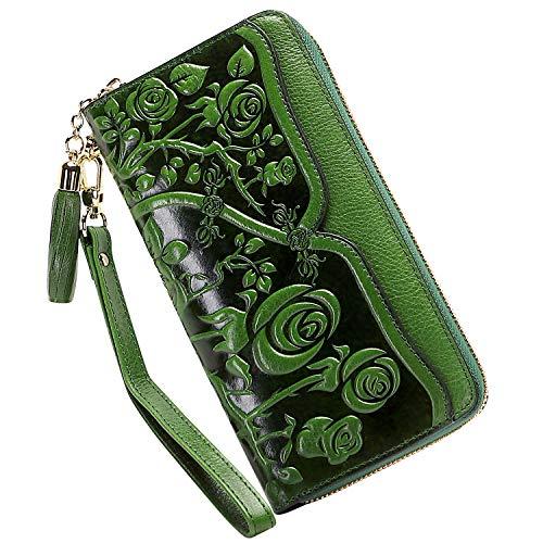 PIJUSHI Carteras de cuero genuino para las mujeres Floral cartera de la pulsera de las señoras monederos de embrague con borla - Verde - talla única