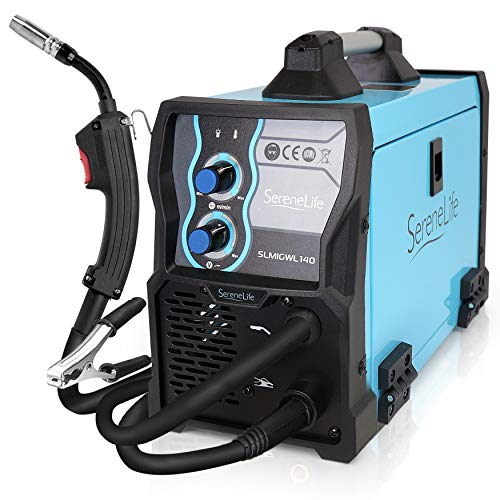 SereneLife Inverter MIG Welding Machine - Dual Voltage 110/220v, Gas Option, 130 Amp MIG Inverter Welder w/Adjustable Speed - Full Starter Kit: Welding Gun, Ground Wire, Brush, Mask - SLMIGWL140