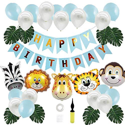 Ubuzima Dschungel Geburtstag Deko Kindergeburtstag Deko Party-Set Happy Birthday Girlande Luftballons Folienballon Tiere Palmblättern für Geburtstagsdeko Jungen