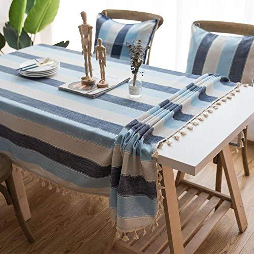 shunzianson waterdicht tafelkleed voor de keuken Mediterrane blauw gestreepte tafelkleden kwast decoratieve home eettafel afdekking 140x140 cm blauw gestreept