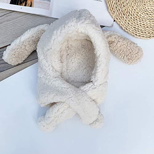 MZWJTZKD Sombreros y bufandas para niños con sombrero de una pieza Sombrero de babero Temporada de cordero Protección de la cara con espesamiento Cálido Conejo Orejas Niños Sombrero de una pieza