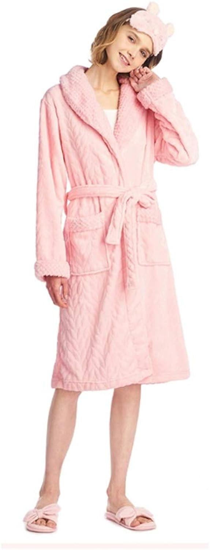 NAN Liang Luxury Bathrobe 100% Cotton Nightdress Women's Thick Wrap Pajamas Warm LongSleeved Home Service (color   Pink, Size   L)