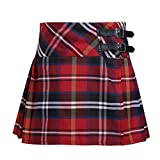 Agoky Girls Pleated Tartan Kilt Side Split Plaid Mini Skirt School Uniform Red 10 Years