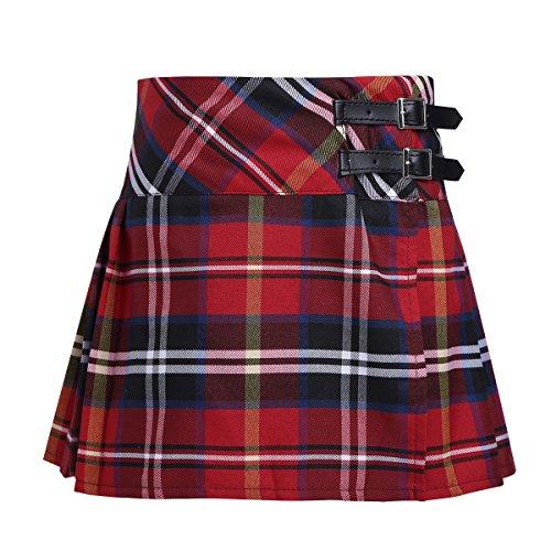 CHICTRY Niñas Falda Corta con Pliegues Escocesas a Cuadros de Escocia Falda Plisada de Uniforme Escolar Falda Algodón Tartán para Chica Rojo 14 años