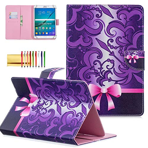 7 inch Universal Tablet Cover, Techcircle Colorful PU Leather Stand Flip Wallet Protective Case, for Samsung Galaxy Tab 7.0, LG G Pad 7.0, Kindle Fire 7 and More Android Tablet, Bowknot