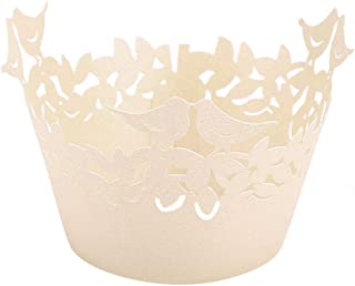 ifundom Lot de 50 emballages de gâteau créatifs creux en papier pour décoration de gâteau de mariage Motif oiseaux Blanc t...